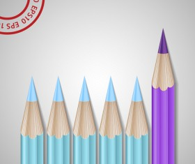 Different Colored pencil vector set 03