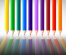 Different Colored pencil vector set 04