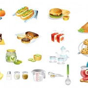 Food kitchen icons vector