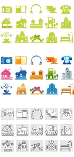 female color icon 2 vector