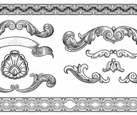 Vintage ornaments with frames vector