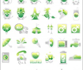 Green cute Icon vector