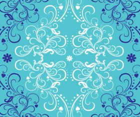 Blue with white floral ornaments
