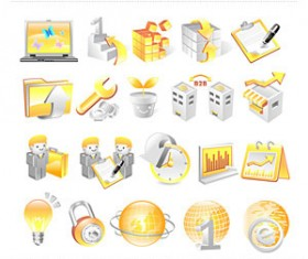 Blue and orange business icons vector
