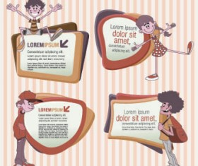 funny kids with Speech Bubbles vector 03