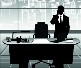Vector Silhouettes of office work set 02