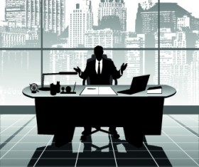 Vector Silhouettes of office work set 04