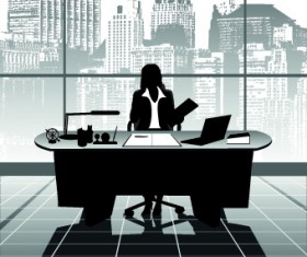 Vector Silhouettes of office work set 05