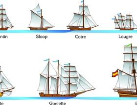 Vector Sailing vessels set 04