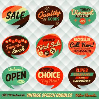 Retro style speech bubble labels 05