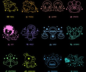 Different Signs of the zodiac design vector 03