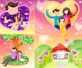 Elements of happy family of 2 Vector