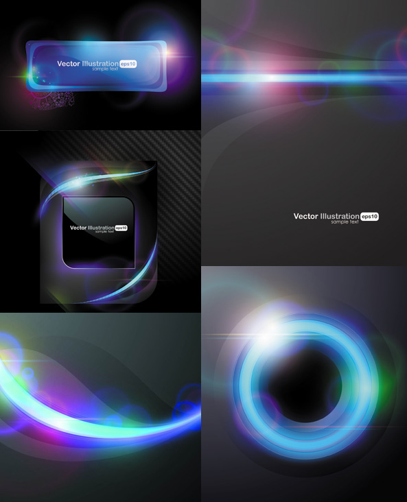 Cool halo background vector set
