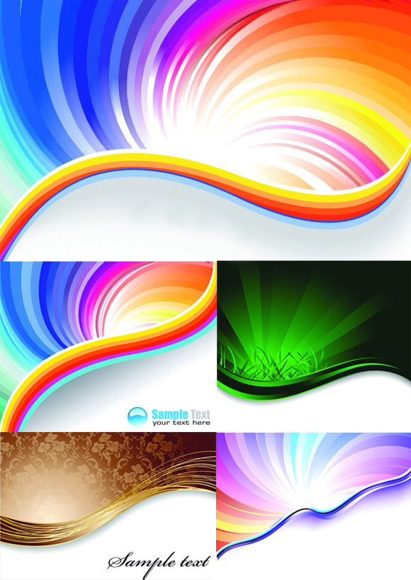 Elements of gorgeous rainbow background design vector ...