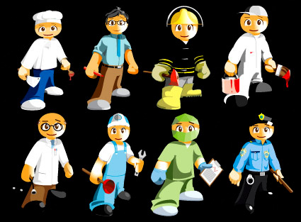 8 kinds of cartoon occupation characters Vector