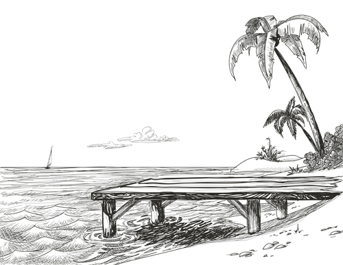 Nature Hand Drawing Hand Drawn Beach Black With