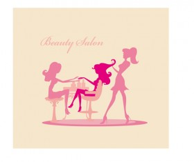 Woman with Beauty Salon vector 02