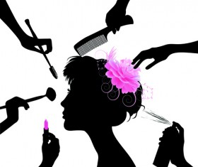 Woman with Beauty Salon vector 03