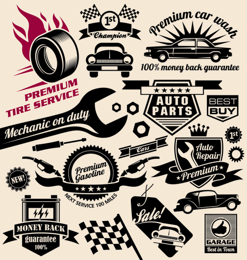 Utility Body Signs : Different car service labels vector