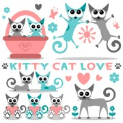 Link toCute kittens vector set 01