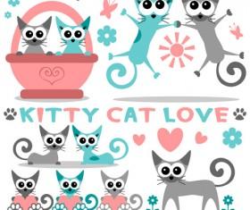 Cute kittens vector set 01