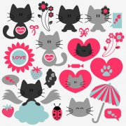 Link toCute kittens vector set 03
