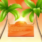 Link toCoconut tree and wooden boards vector 03