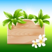 Link toCoconut tree and wooden boards vector 05