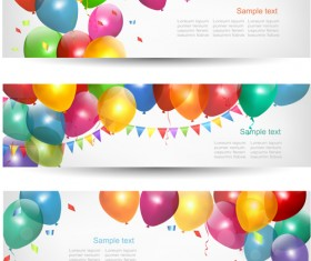 Colored Balloons Banners set 02