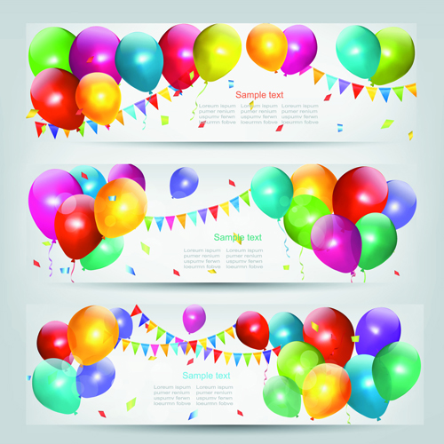 Colored Balloons Banners set 03