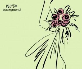 Hand drawn Fashion Woman background 05