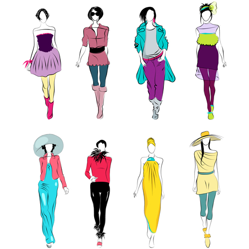 Vector Fashion Girls Design Elements 01 Free Download