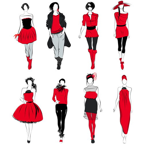 Elements Of Fashion Design : Vector fashion girls design elements people