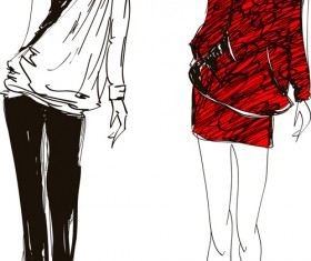 Hand drawn Fashion Girls vector 02