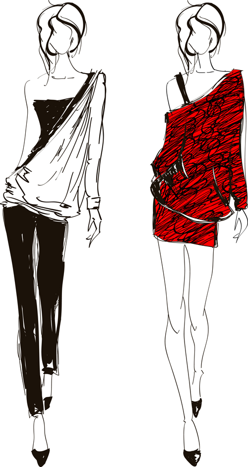 hand drawn fashion girls vector 02 vector people free
