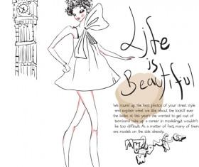 Hand drawn Fashion Girls vector 04