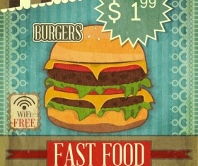 Vintage Fast Food with Menu vector 02