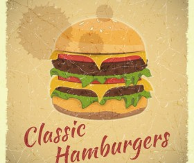 Vintage Fast Food with Menu vector 03