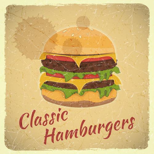 Vintage Fast Food with Menu vector 03