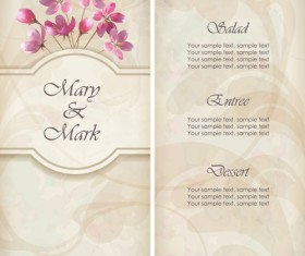 Pink Flowers Cards vector 03