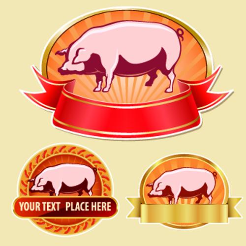 Vintage Food labels vectors 01