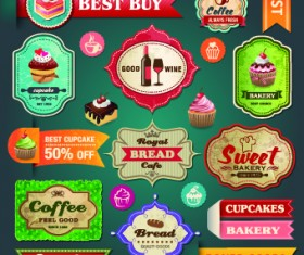 Vintage Food logo with labels vector 01