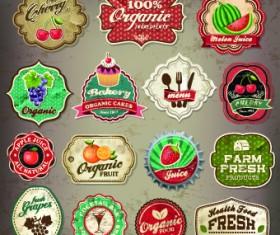 Vintage Food logo with labels vector 05