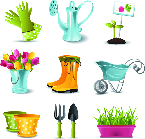 Gardening tools vector 03 over millions vectors stock for Gardening tools 3d model