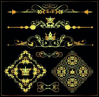 Gold calligraphic decor vector 07