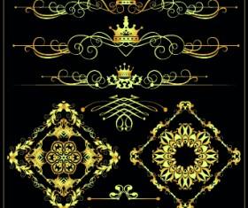 Gold calligraphic decor vector 04