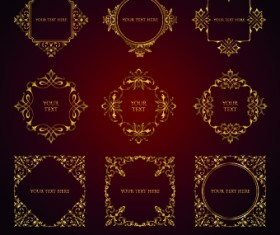 Golden ornament borders and frame vector 01