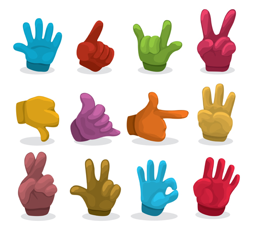 Different hand gesture vector set 01