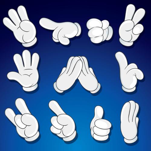 Different hand gesture vector set 02