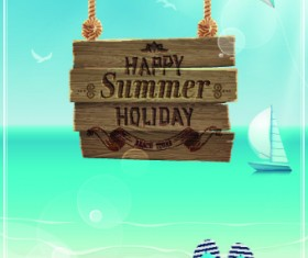 Happy summer design elements vector 04
